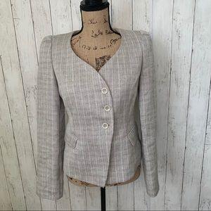 Armani Collezioni Cream Tweed Flax Linen Blazer 6